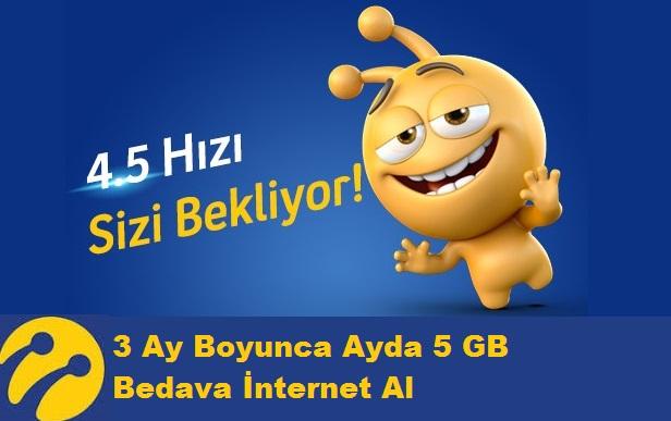 Turkcell 3 Ay Boyunca Ayda 5 GB Bedava İnternet Al