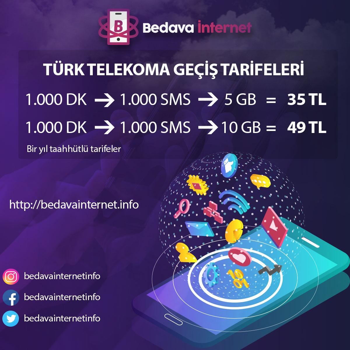 2019 Yılı Türk Telekom'a geçiş tarifeleri ve avantajları