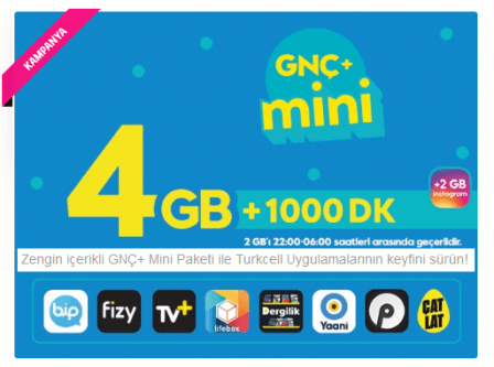 Turkcell 4GB GNÇ Mini Paketi