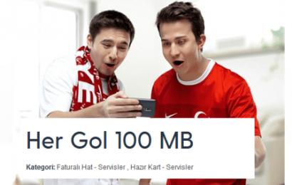 Turkcell Her Gol 100MB Ücretsiz internet