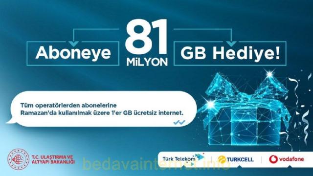 81 Milyon Aboneye 81 Milyon 1 GB İnternet Hediye!